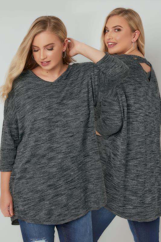 Plus Size Dipped Hem Tops Dark Grey Longline Knitted Top With Cross Over Straps