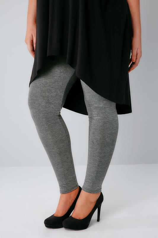 Plus Size Basic Leggings Dark Grey Marl Viscose Elastane Leggings