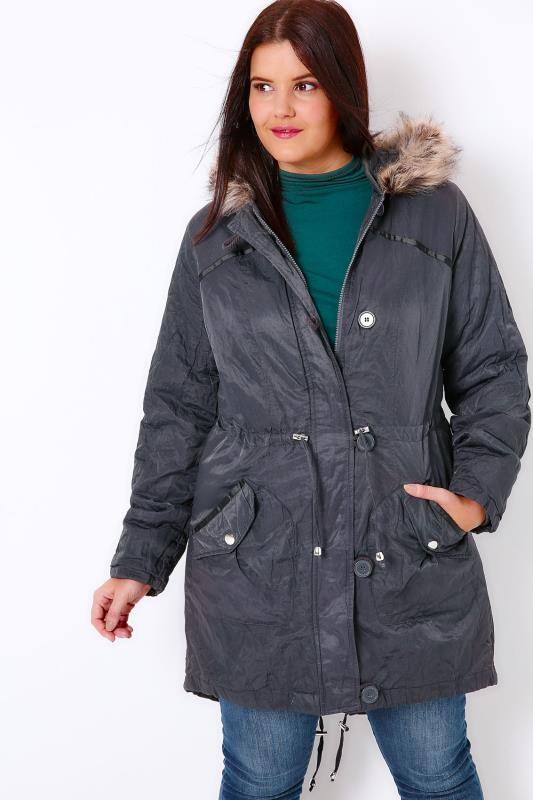 Dark Grey Metallic Parka Coat With Faux Fur Hood