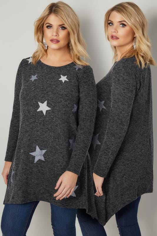 Jersey Tops Dark Grey Textured Star Print Longline Knitted Top With Hanky Hem 132544