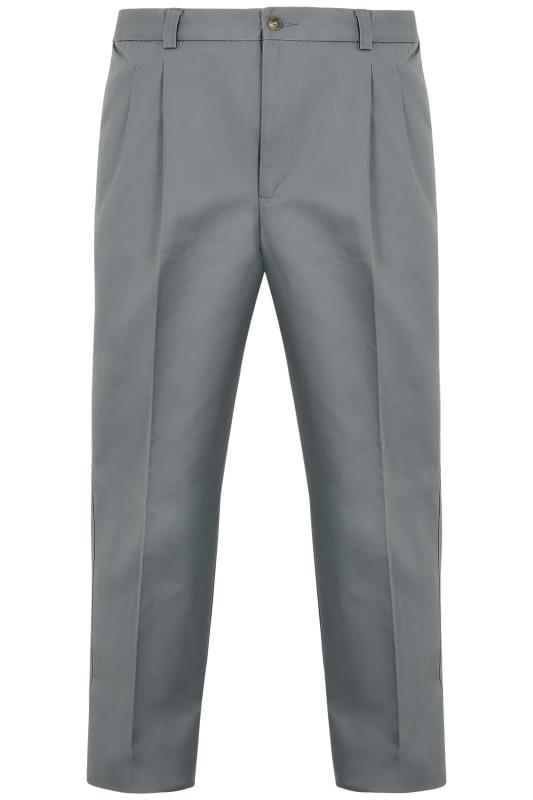 Chinos & Cords Dark Grey Trousers With Pleats - TALL 090246T