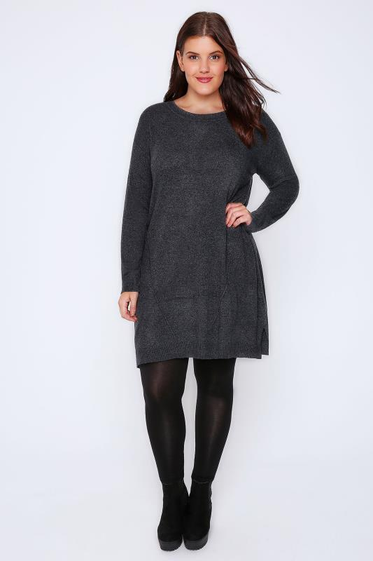 Dark Grey Wool Blend Tunic Dress With Front Seam Detail