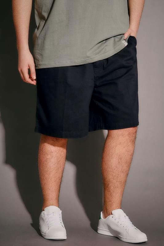 Dark Navy Chino Shorts With Elasticated Waist Insert