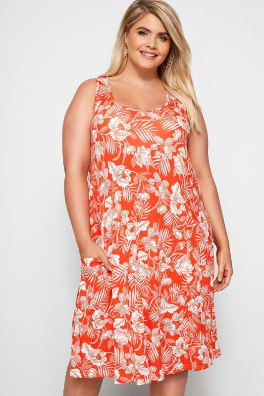 Plus Size Casual Dresses Dark Orange Floral Drape Pocket Dress