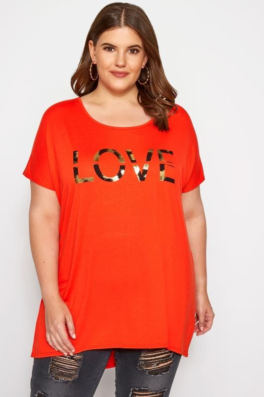 Dark Orange 'Love' Slogan T-Shirt