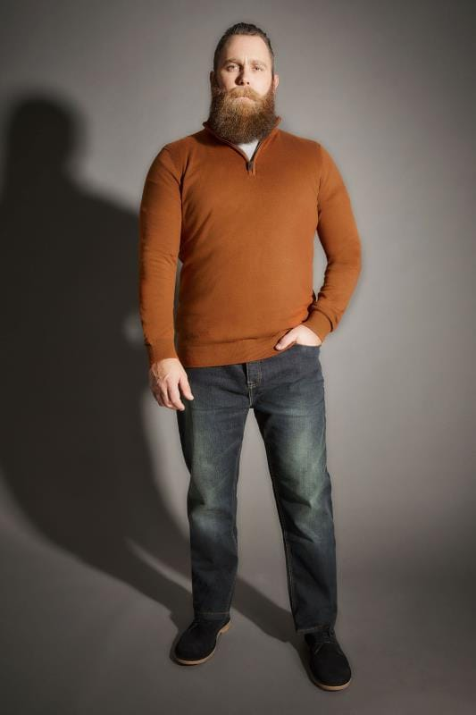 Dark Orange Zip Front Jumper