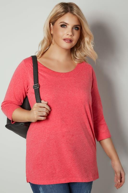 Plus Size Day Tops Dark Pink Band Scoop Neckline T-Shirt With 3/4 Sleeves