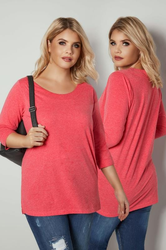 Dark Pink Band Scoop Neckline T-Shirt With 3/4 Sleeves