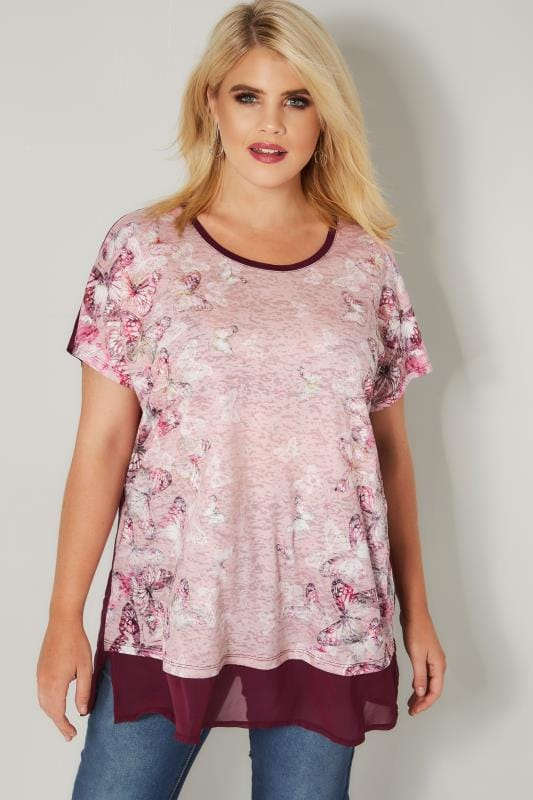 Dark Pink Butterfly Print Burnout Top With Chiffon Hem