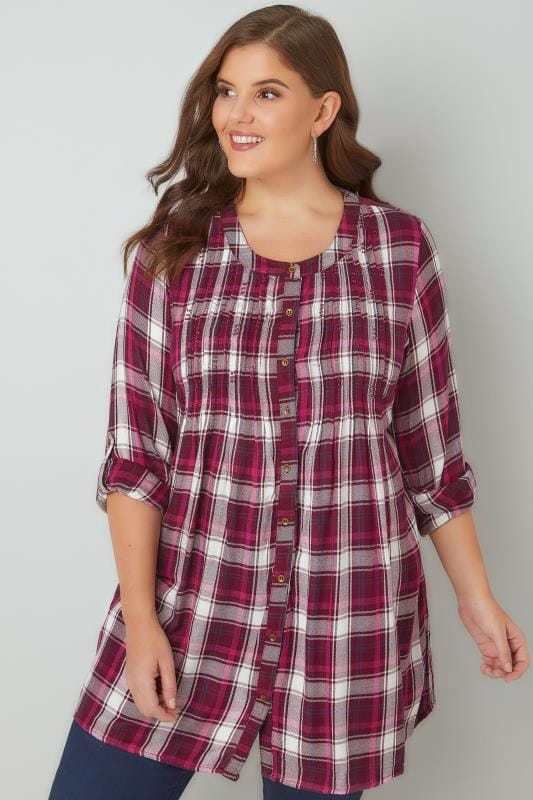 Dark Pink Check Embellished Top With Pintuck Detailing