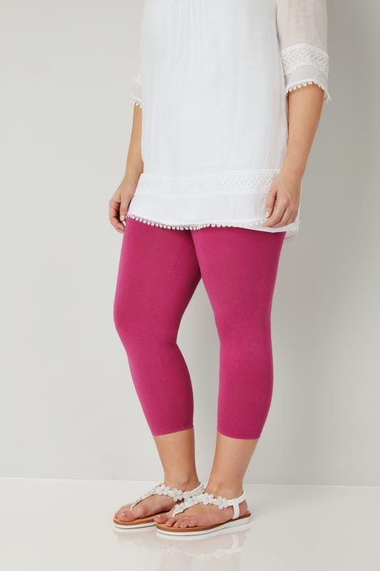 Dark Pink Cotton Essential Cropped Leggings