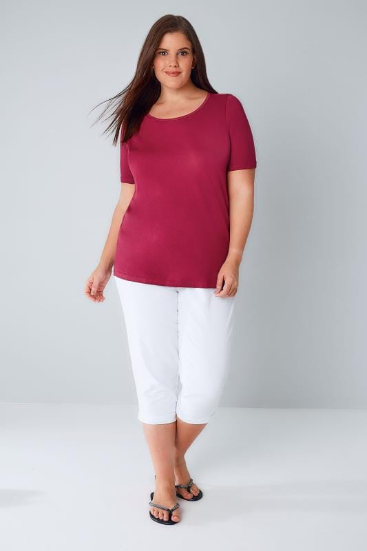 Dark Pink Scoop Neck Cotton T-Shirt