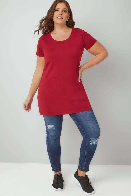 Dark Pink Scoop Neck Longline Jersey T-Shirt