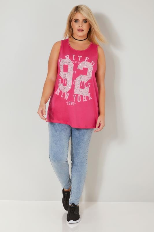 Dark Pink Slogan Print Sleeveless Vest Top With Stud Embellishments