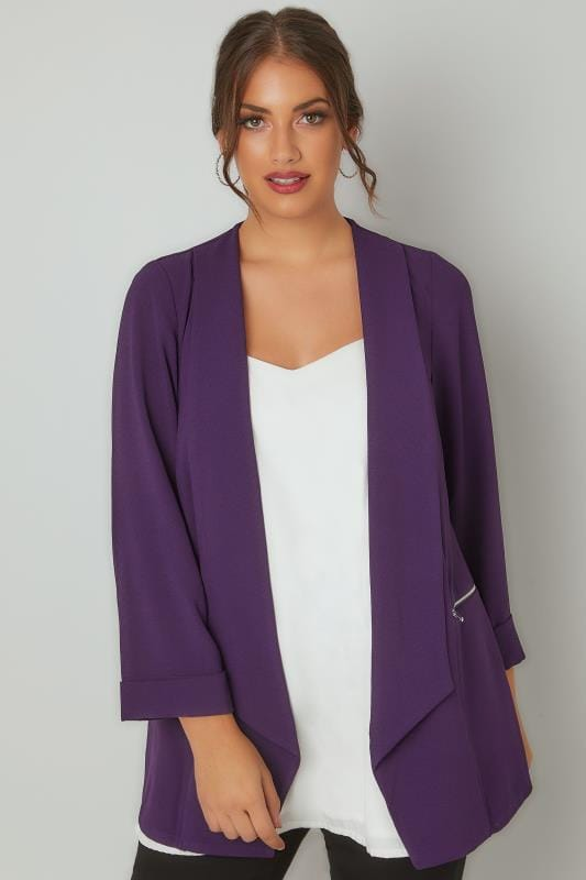 Plus Size Blazers Dark Purple Bubble Crepe Blazer Jacket With Zip Pockets