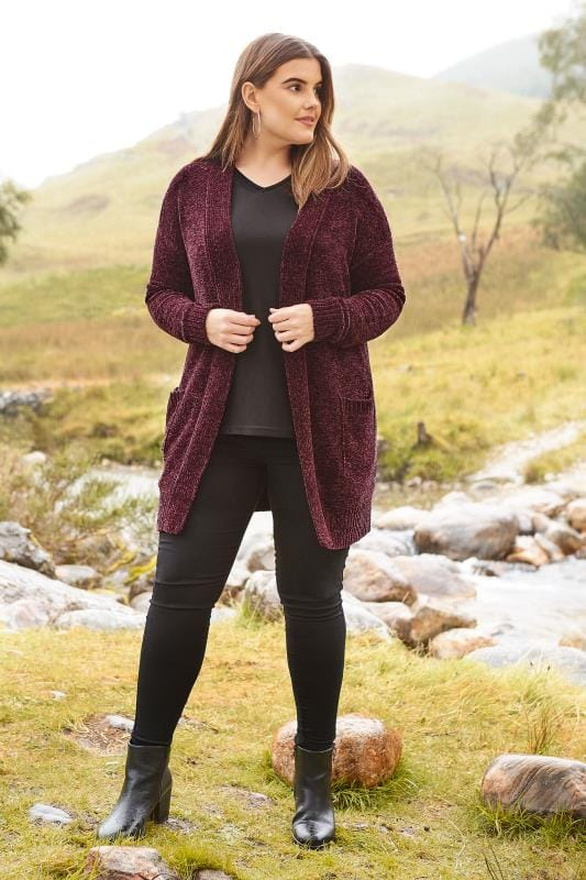 Dark Purple Chenille Cardigan