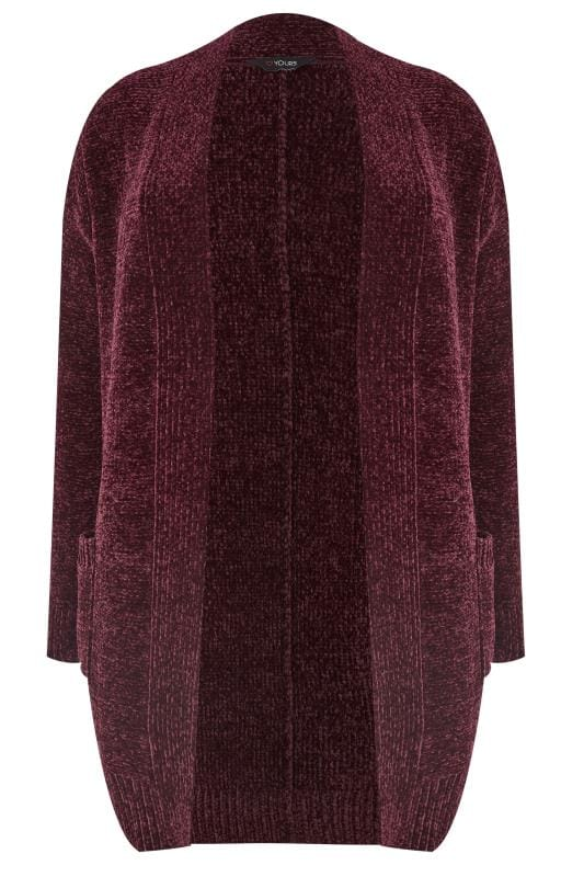 Plus Size Cardigans Dark Purple Chenille Cardigan