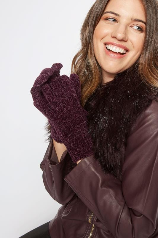 Plus Size Gloves Dark Purple Chenille Gloves