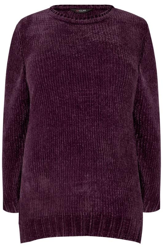 Plus Size Knitted Tops & Jumpers Dark Purple Chenille Jumper