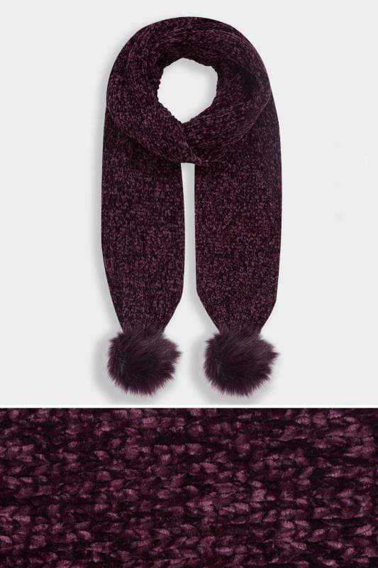 Plus Size Scarves Dark Purple Chenille Pom Pom Scarf