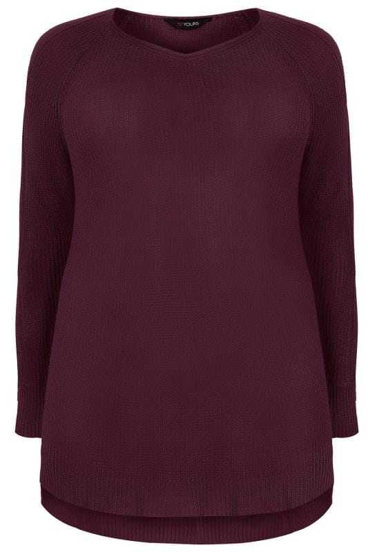 Dark Purple Knitted Jumper With Cold Shoulders & Dipped Hem