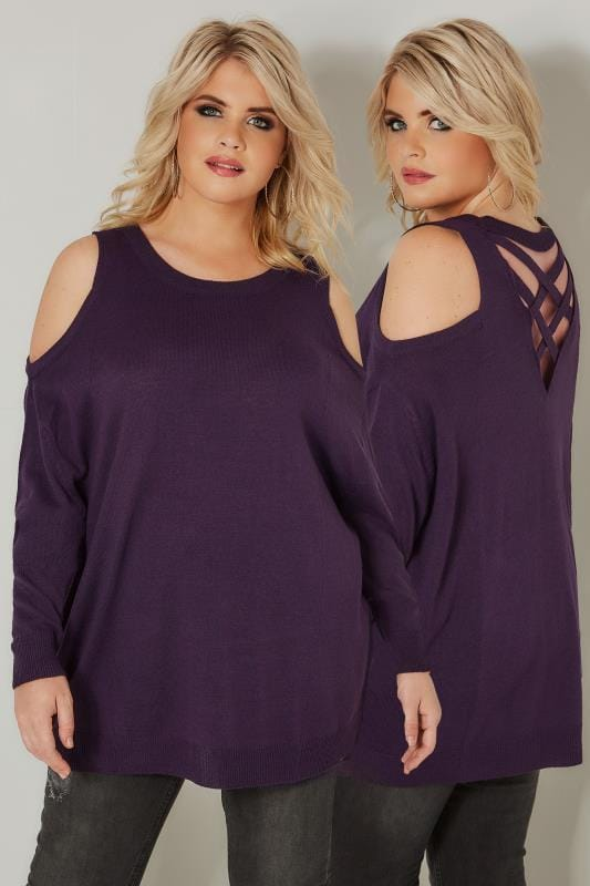 Plus Size Jumpers Dark Purple Cold Shoulder Knitted Jumper With Rear Cross Over Straps