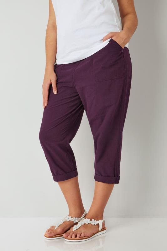 Plus Size Cotton Pants Dark Purple Cool Cotton Cropped Trousers