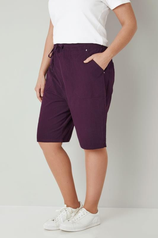 Plus Size Cool Cotton Shorts Dark Purple Cool Cotton Pull On Shorts
