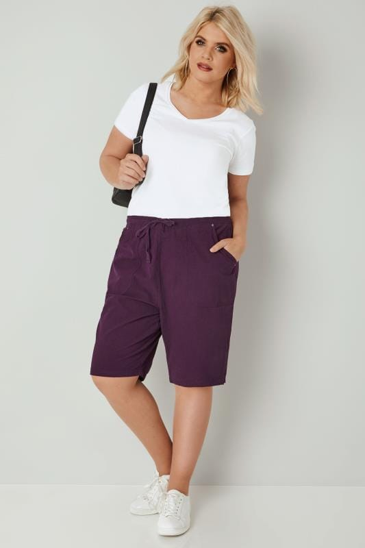 Dark Purple Cool Cotton Pull On Shorts