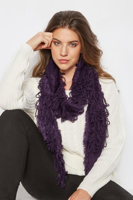 Plus Size Scarves Dark Purple Crochet Scarf With Frayed Trim