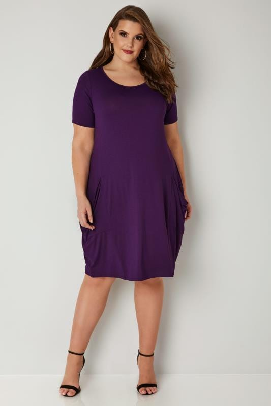 Dark Purple Drape Pocket Jersey Dress