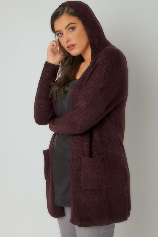 Dark Purple Hooded Cardigan With Pockets