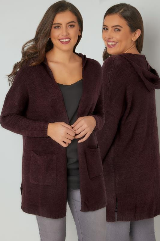 Cardigans Dark Purple Hooded Cardigan With Pockets 124085