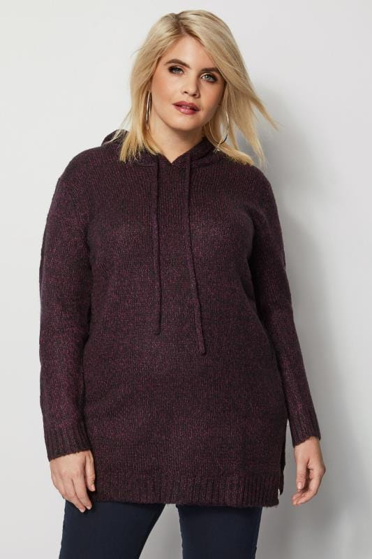 Plus Size Hoodies & Jackets Dark Purple Knitted Hoodie