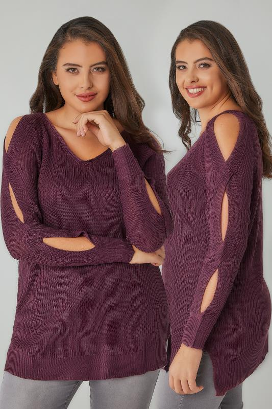 Jumpers Dark Purple Knitted Jumper With Cold Shoulders & Dipped Hem 124076