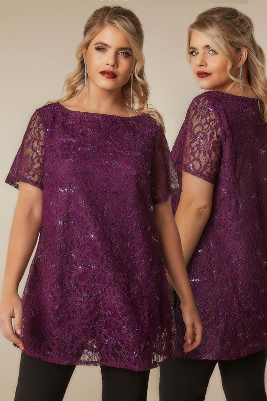 Party Tops Dark Purple Lace Shell Top With Sequin Details 134254