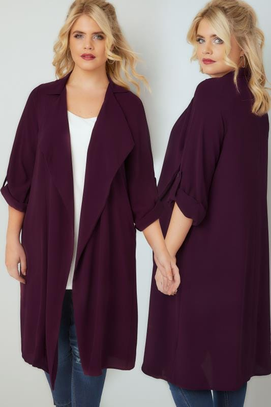 Dark Purple Lightweight Duster Jacket With Waterfall Front & Roll-Up Sleeves