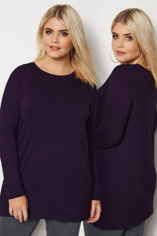 Plus Size Basic T-Shirts & Vests Dark Purple Long Sleeve Soft Touch Jersey Top