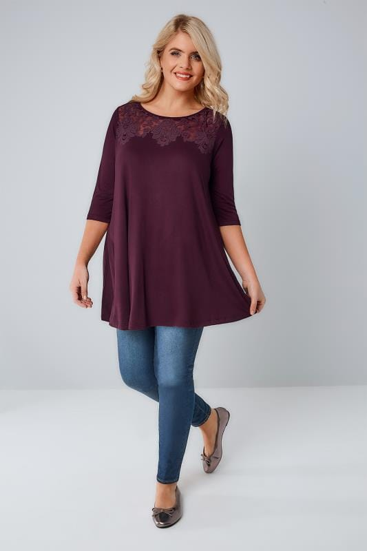 Burgundy Longline Jersey Top With Burnout Details & 3/4 Sleeves