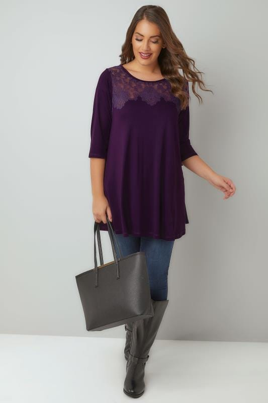 Dark Purple Longline Jersey Top With Burnout Details & 3/4 Sleeves