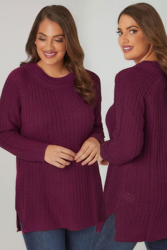 Plus Size Jumpers Dark Purple Longline Jumper With Cable Knit Trim