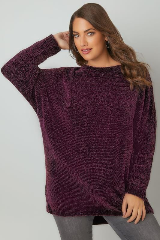 Jumpers Dark Purple Ribbed Chenille Batwing Jumper 124052