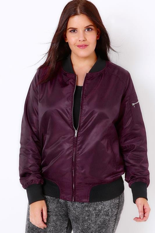 Dark Purple Satin Bomber Jacket