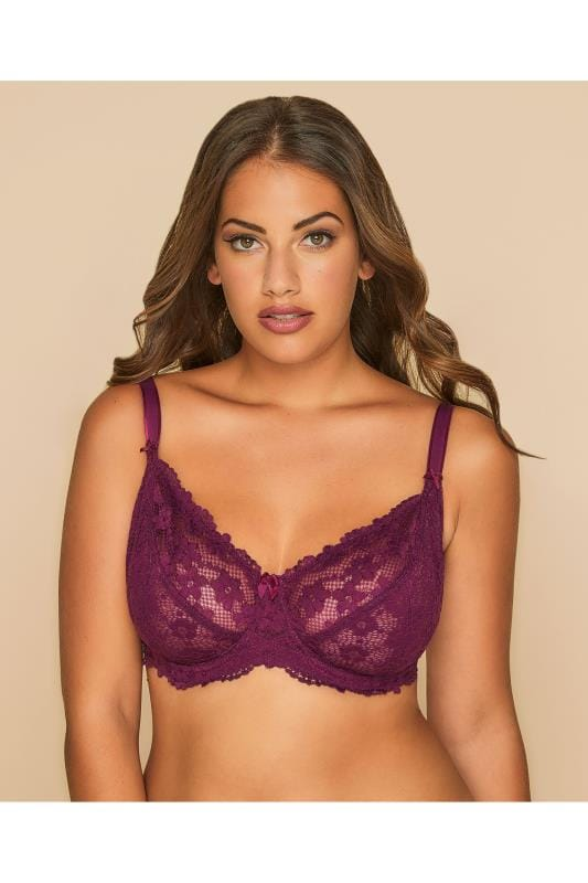 Dark Purple Stretch Lace Non-Padded Underwired Bra