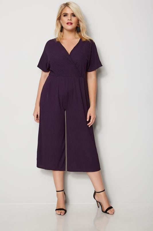 Dark Purple Wrap Front Culotte Jumpsuit
