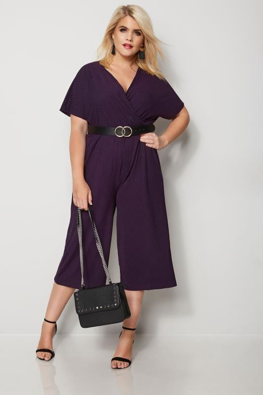 Grote maten Grote maten Jumpsuits LIMITED COLLECTION Donkerpaarse culotte jumpsuit met wikkellook