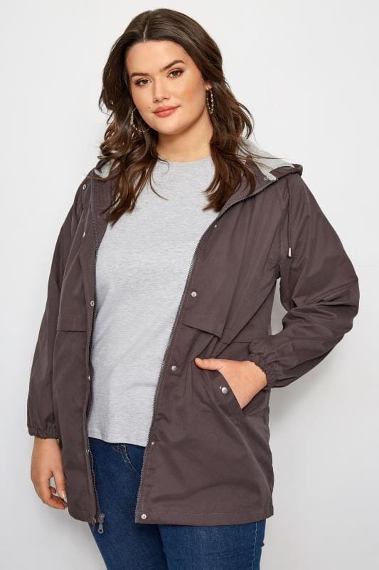 Plus Size Jackets Grey Zip Through Jacket
