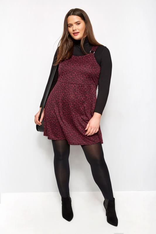 Plus Size Skater Dresses Dark Red Animal Jacquard Pinafore Dress