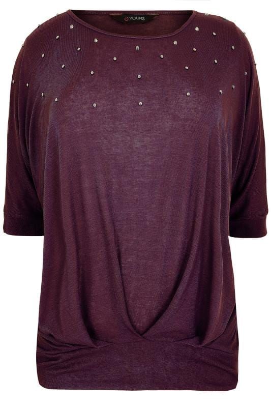 Dark Purple Studded Slouch Jersey Top With Band Hem