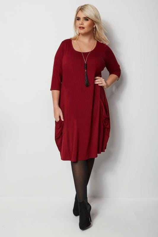 Plus Size Midi Dresses Dark Red Drape Pocket Dress